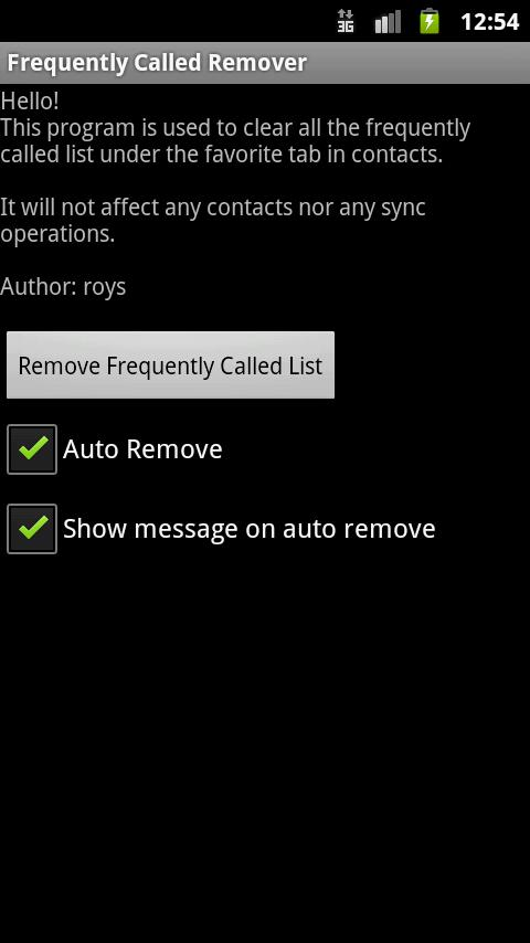 Frequently Called Remover - screenshot