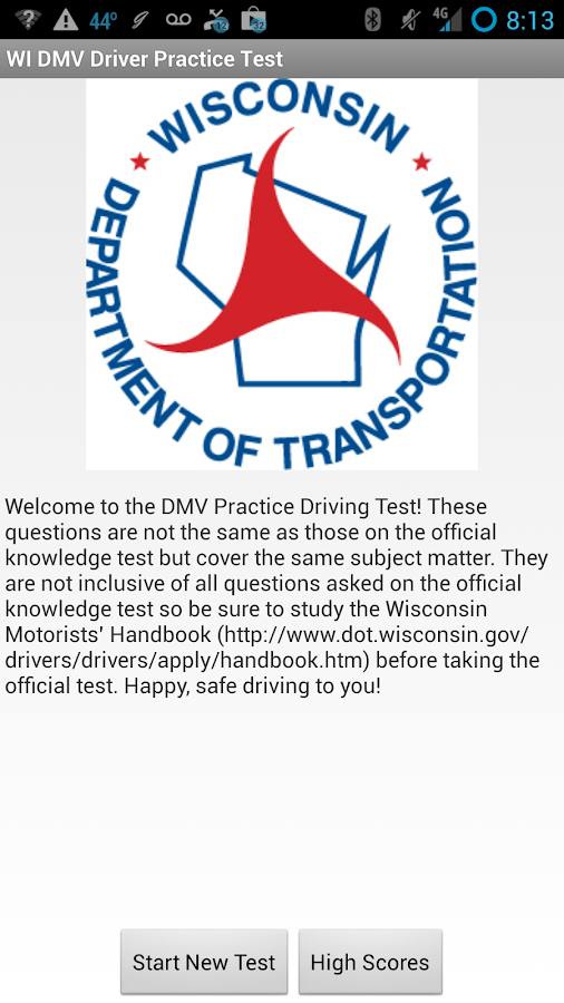 WI DMV Driver Practice Test - screenshot