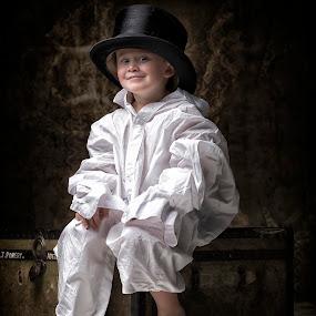 The waiting game by Jan Kraft - Babies & Children Child Portraits ( vintage shirt clothing big hat room large )