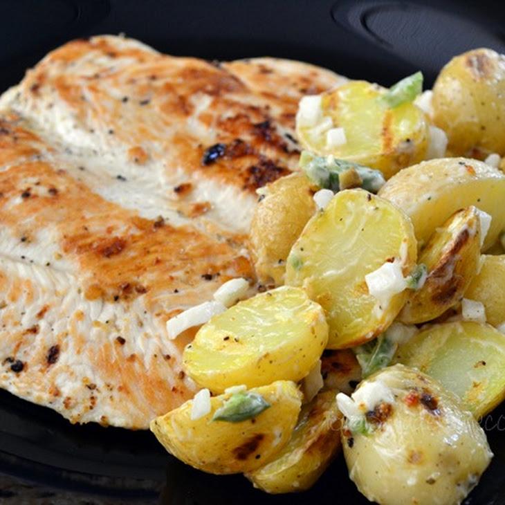 Grilled Chicken with Serrano Pepper Potato Salad