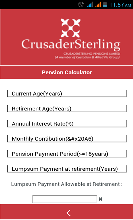 CrusaderSterling Pensions- screenshot