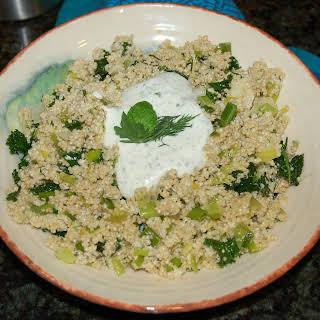 Greened Quinoa with Herbed Feta-Yogurt Dressing.