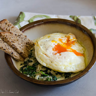 Fried Eggs with Creamy Spinach and Toast Soldiers