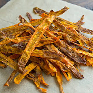 Curried Baked Carrot Chips.