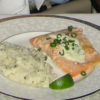 Baked Salmon With Lime, Jalapeno Chive And Sour Cream Sauce.