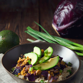 Chickpea Scramble and Red Cabbage Brown Rice Bowls (Vegan & Gluten-Free)