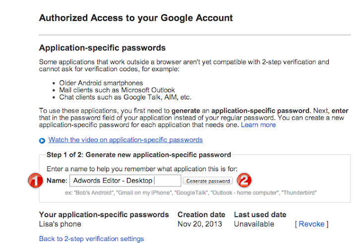 Application Specific Passwords Google Account
