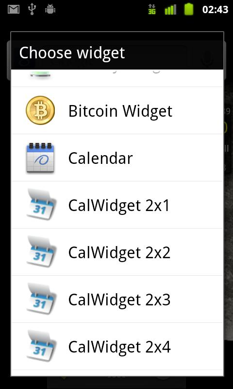 Bitcoin Widget - screenshot
