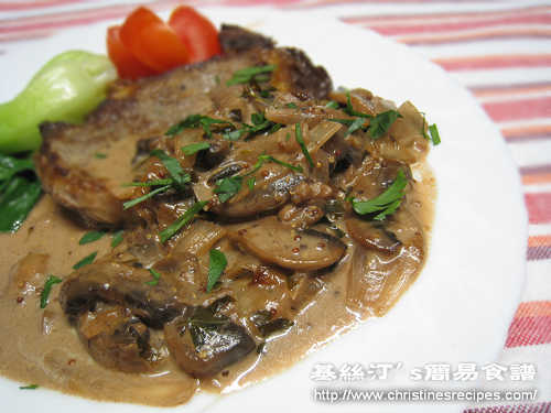 菲力牛扒配蘑菇紅酒汁 Steak Fillet with Mushroom and Red Wine Sauce