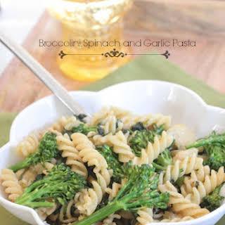 Broccolini, Spinach and Garlic Pasta.