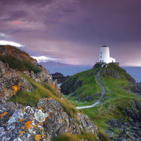 Anglesey Evening by Ian Pinn - Landscapes Mountains & Hills ( wales, sunset, lighthouse, cloud, llandwyn, island )