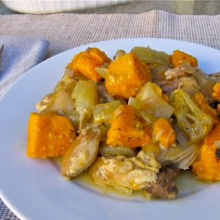 Easy Healthy Slow Cooker Cider-Braised Chicken Thighs with Sweet Potatoes and Sage.