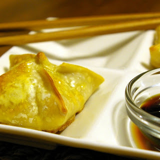 Baked Wontons with Salmon Filling.