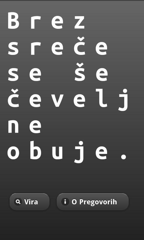 Pregovori – posnetek zaslona