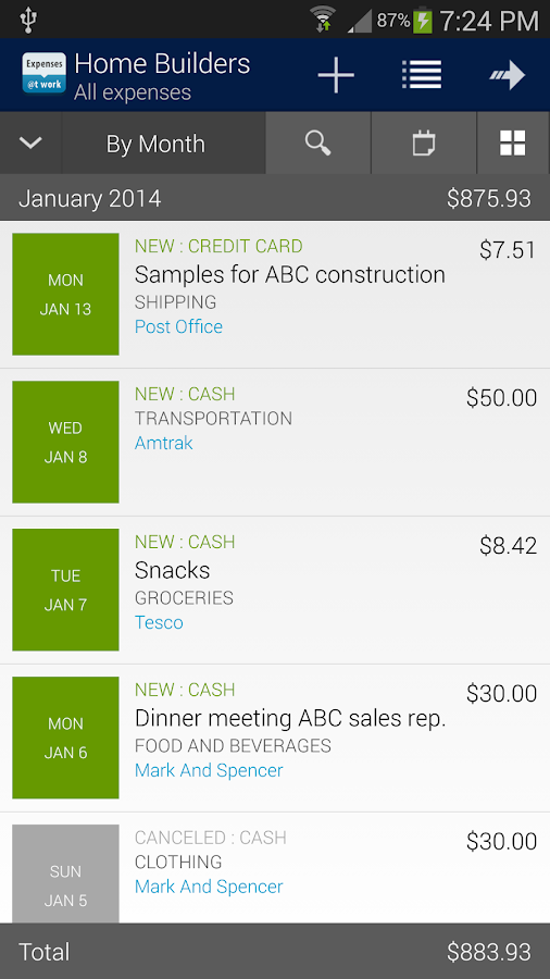 Expenses @t Work - screenshot