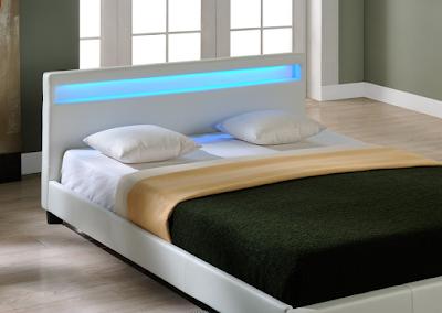 acheter lit leds simili cuir blanc radiosa 140x190 marseille chez envie de meubles dilengo. Black Bedroom Furniture Sets. Home Design Ideas