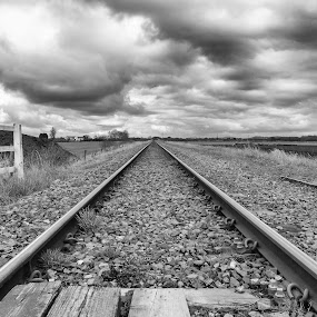 Single track line by Brian Leach - Black & White Landscapes