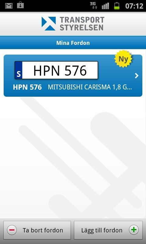 Mina fordon- screenshot
