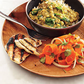 Red Lentil Dal with Carrot Salad and Coriander Flatbreads.