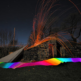 It's blown the bloody roof off! by Mark Airey - Abstract Light Painting ( roof, wind, storm damage, light painting, night photography, steel wool, ribbon, d7000, long exposure, nikon, sparks )