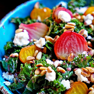 Roasted Beet Salad with Pomegranate Mint Dressing.