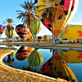 Monday Morning Blow Up by Becky McGuire - News & Events Entertainment ( water, mcguire, reflection, moods, 2013, colorful, happiness, vibrant, balloon, havasu, sky, tvlgoddess, fly, transport, january, air, pond, blow, mood factory,  )