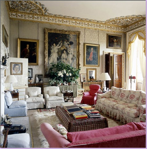 Here The Private Living Quarters Are A Study In What Americans Try To Emulate With Their Cluttered Look Slipcovered Furniture Fabric Ottoman