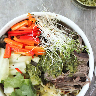 Slow Cooker Vietnamese Beef with Chimichurri.