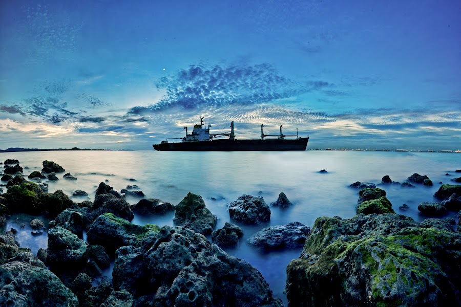 Rusty Tanker by Suban Edyono - Landscapes Waterscapes ( bluehour, clouds, nature, photomerge, tanker, waterscape, ship, nikond7000, boat, landscape, nikon, nikonian )