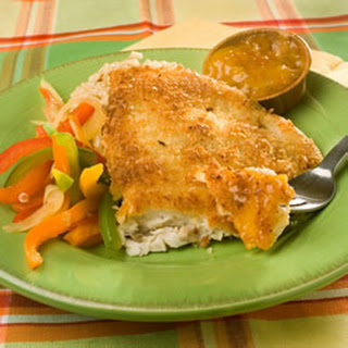 Coconut Tilapia with Apricot Dipping Sauce.