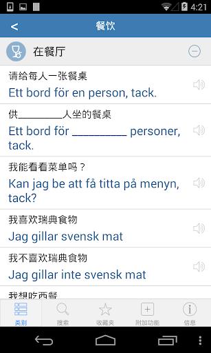 瑞典語詞典 - -跟著音頻一起說瑞典語