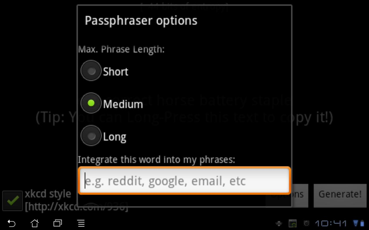 Passphraser- screenshot