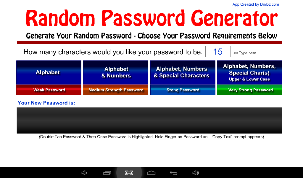 Random Password Generator- screenshot