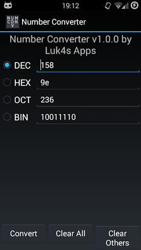 Number Converter hex oct bin