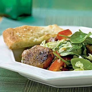 Spinach Salad with Spiced Pork and Ginger Dressing.