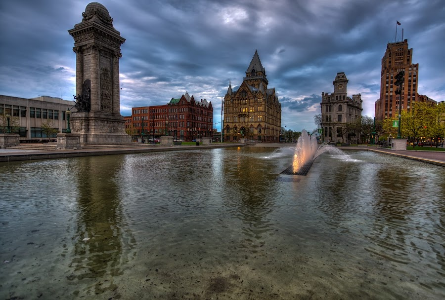 Evening over Clinton Square by John Hoey - City,  Street & Park  Fountains ( cny, color, fountains, syracuse, clinton square, upsate, landscape, ny )