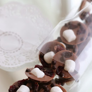 Milk Chocolate Mendiants with Cranberries and Mini Marshmallows.