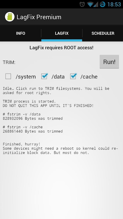 LagFix (fstrim) Premium - screenshot
