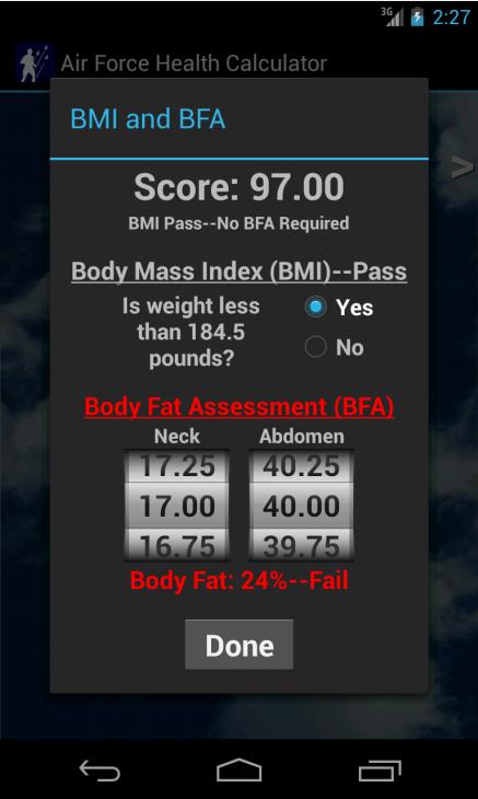 Air Force Health PT Test Calc- screenshot