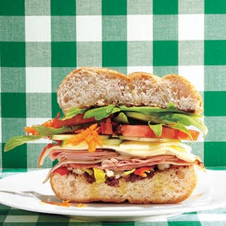 Five-Layer Veggie (and Ham) Sandwich.