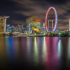 Happy birthday Singapore by GokulaGiridaran Mahalingam - City,  Street & Park  Skylines ( canon, water, 49, birthday, skyline, national day parade, ndp, national day, tall buildings, street & park, colors, 6d, singapore, colours, city, skyscraper, buildngs, fireworks, river )