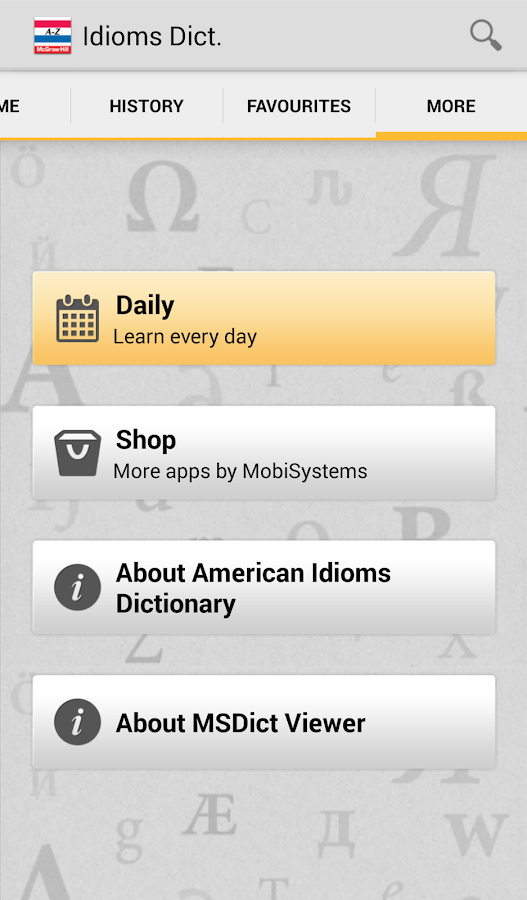 American Idioms Dictionary - screenshot
