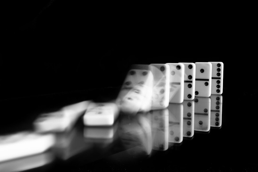 Dominoes by Jim Wylie - Black & White Objects & Still Life ( reflection, black and white, still life, blur, dominoes,  )