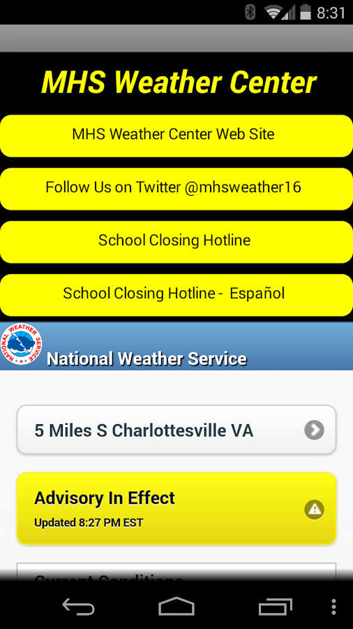Monticello High Weather Center - screenshot