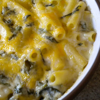 Lightly Cheddared Spinach Ricotta Mac And Cheese.