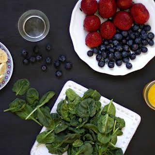 Strawberry, Banana, Blueberry Green Smoothie.