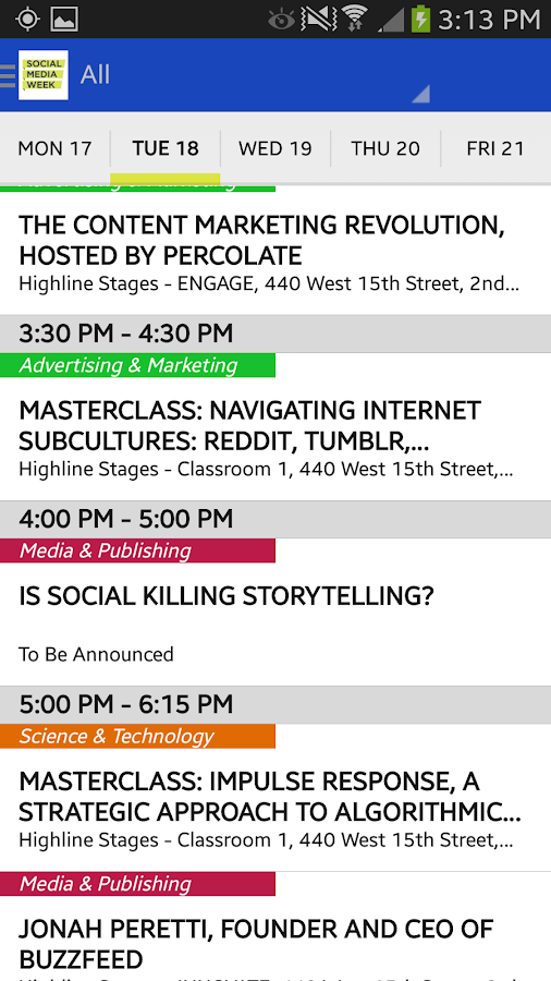 Social Media Week - screenshot