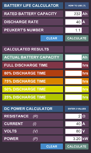 DC Battery Life Calculator