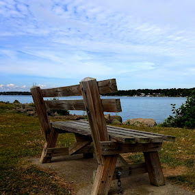 Waiting by the water by Judy Dean - Artistic Objects Still Life ( water, nature, wood, bench, lake,  )