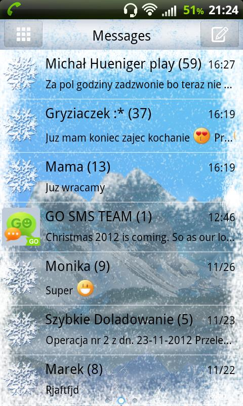 GO SMS Pro Winter Mountain- screenshot
